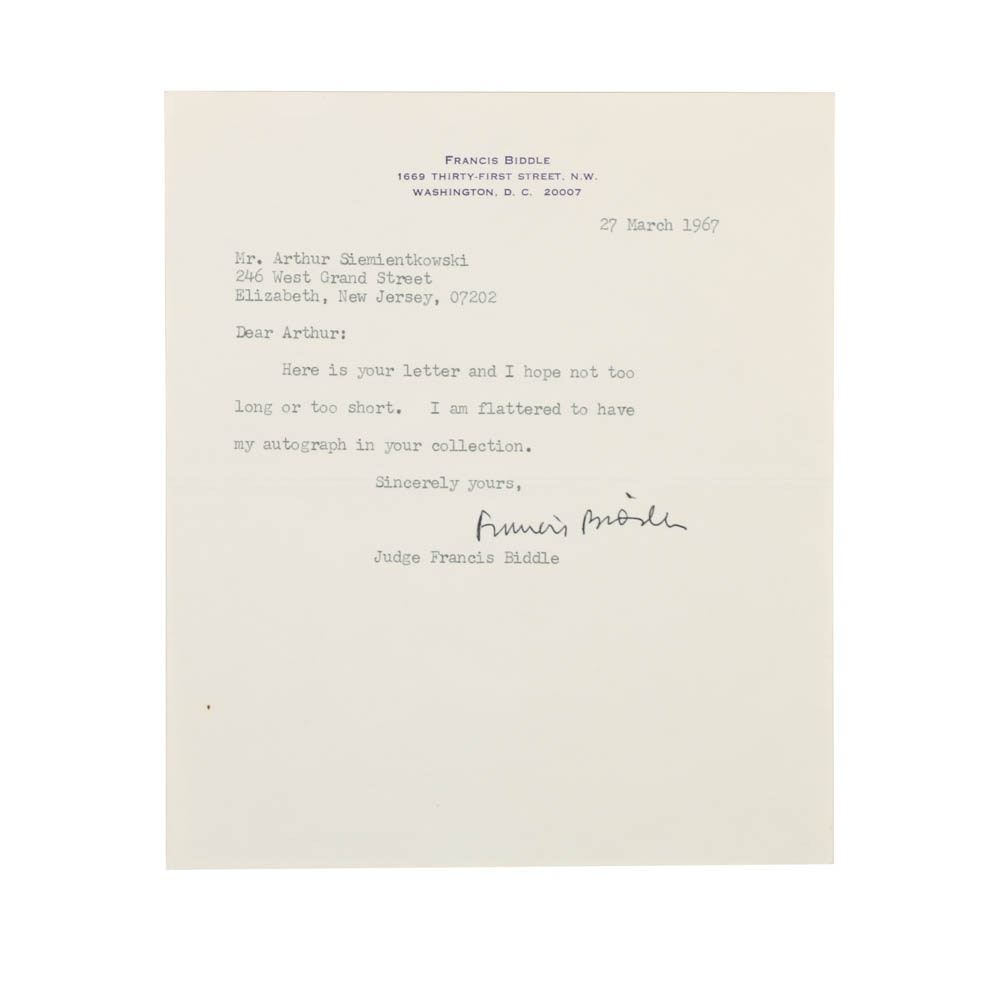 1967 Signed Autograph Reply Letter From Judge Francis Biddle
