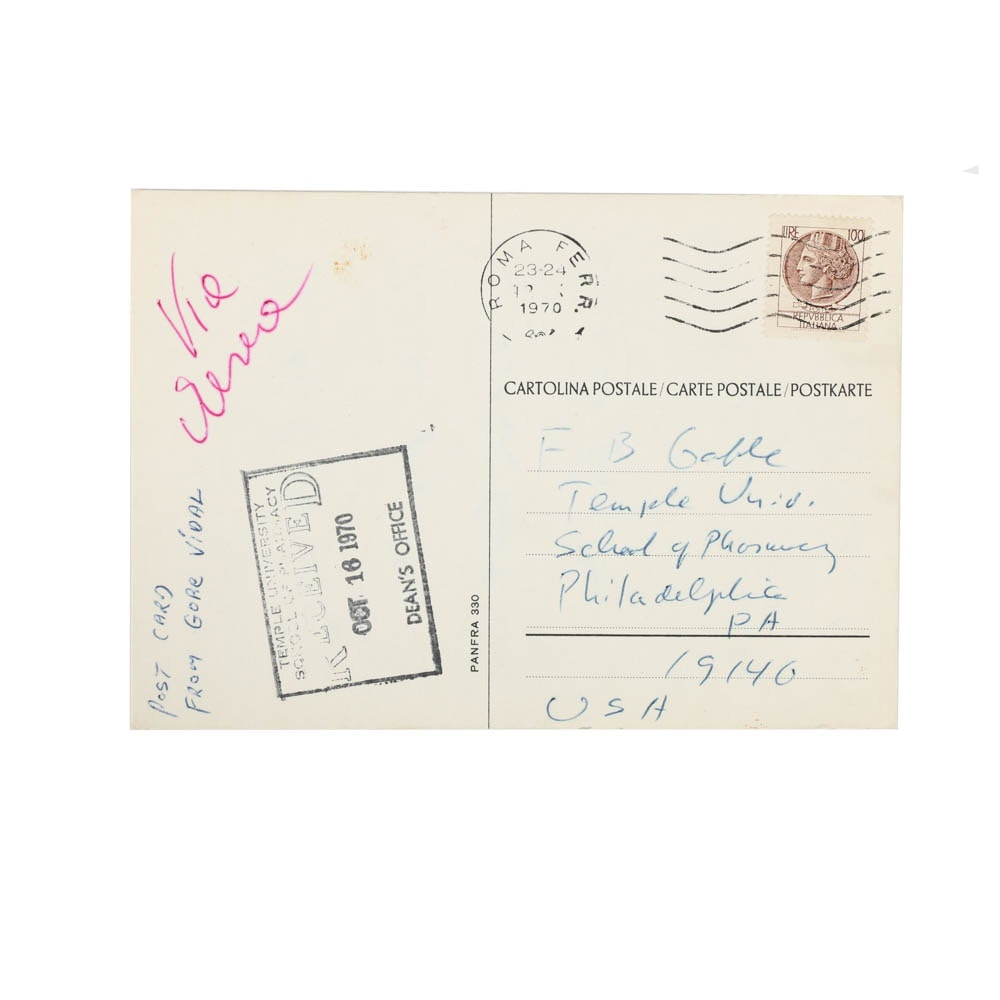 1970 Italian Postcard Signed by Gore Vidal