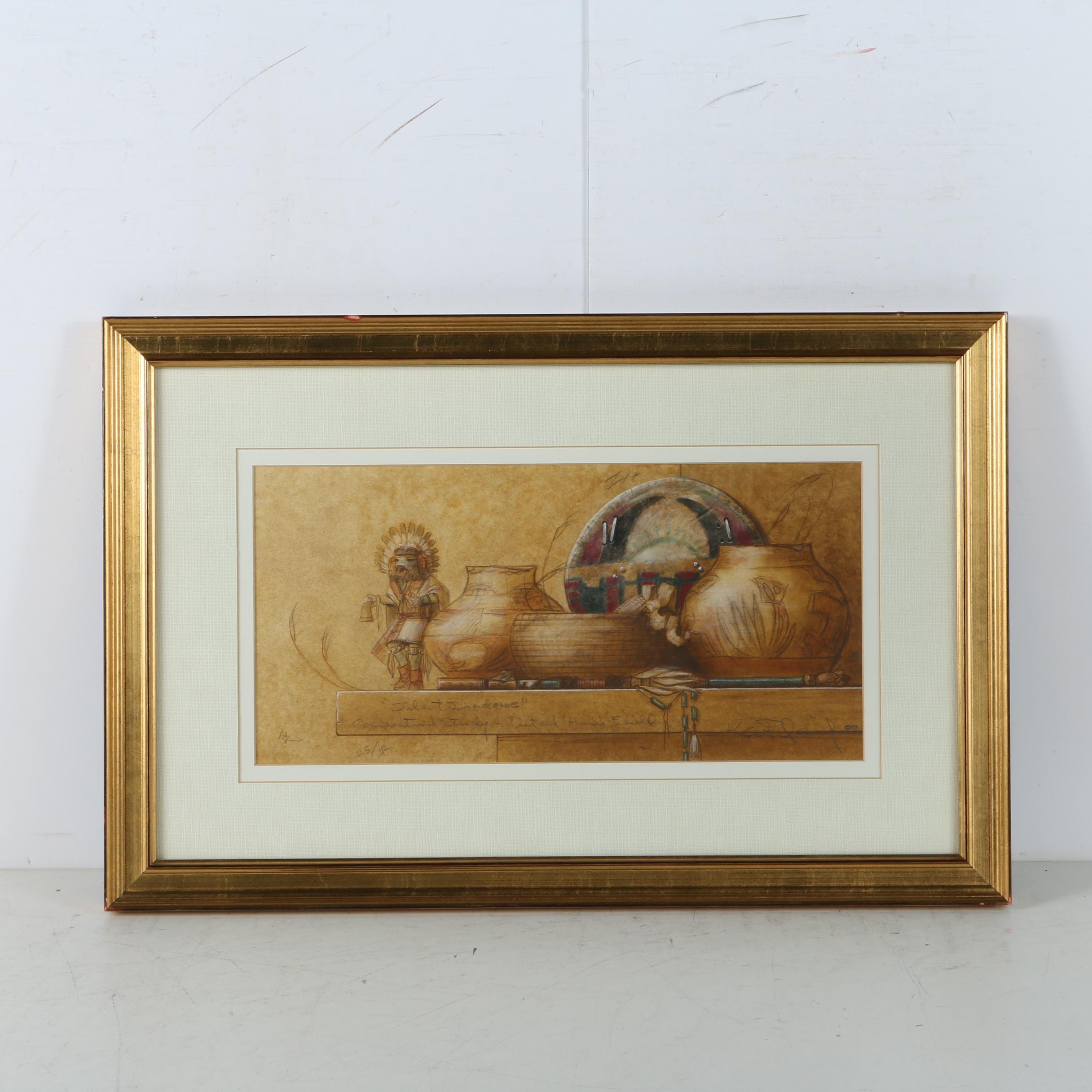 "Ken Fleisch Pastel and Graphite Drawing on Paper ""Silent Shadows"""