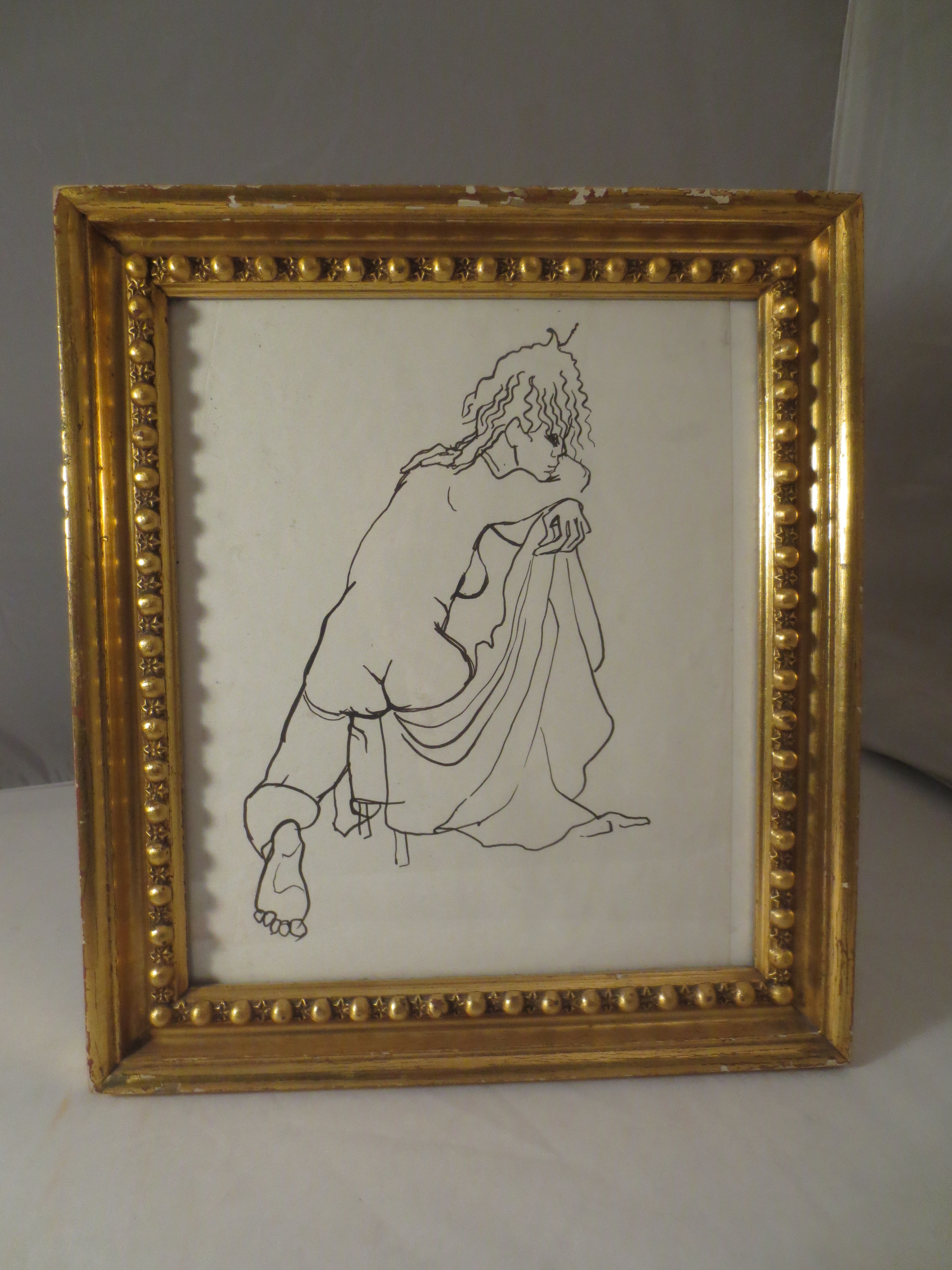 Pen and Ink Figure Study In Beaded Gilt Frame