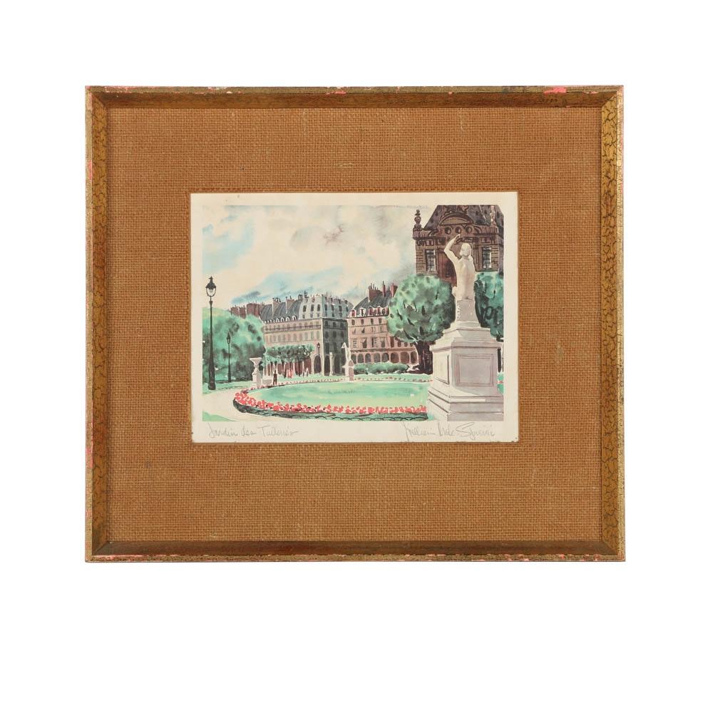 "Offset Lithograph After William McK Spierer ""Jardin des Tuileries"""