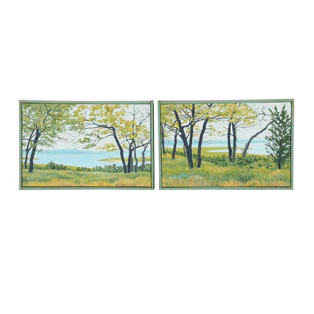 Phil Gidley Acrylic Paintings on Canvas of Wooded Landscapes