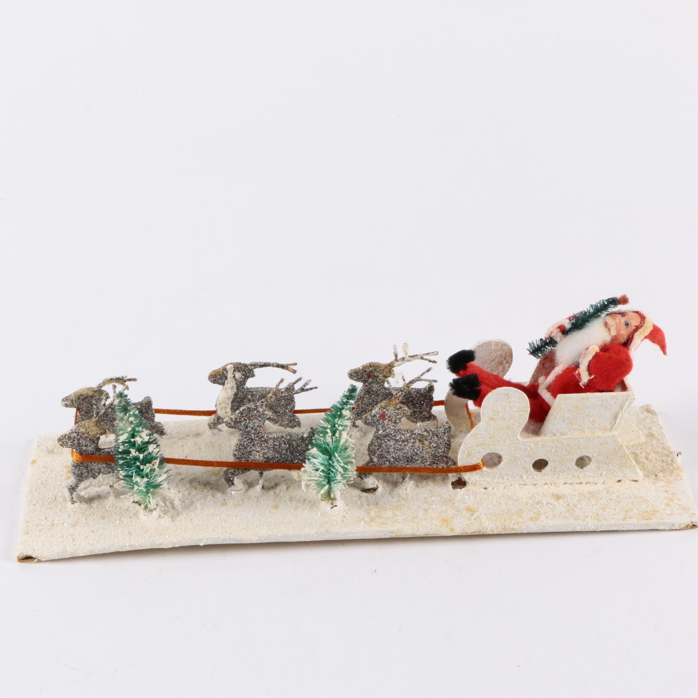 Vintage Santa Clause and Sleigh Christmas Decoration