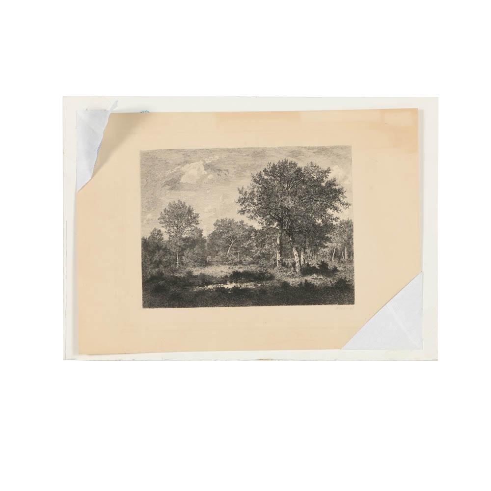 Felix Augustin Milius Etching of Trees