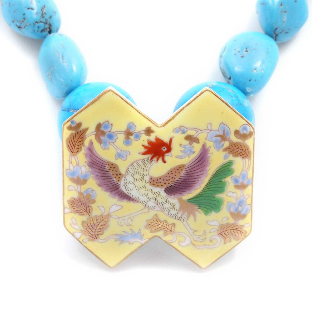 Tumbled Turquoise, Glass Bead and Ceramic Painted Medallion Necklace