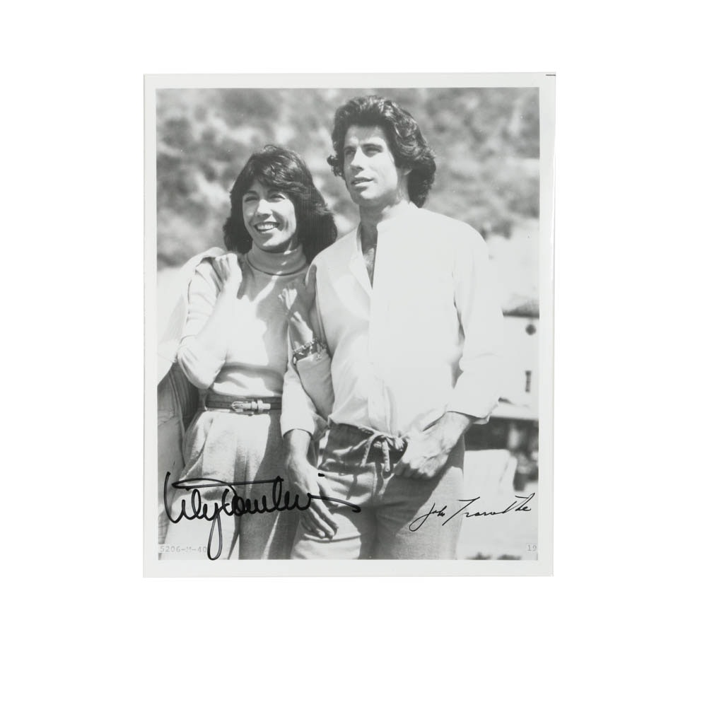 John Travolta and Lily Tomlin Autographed Black and White Photograph