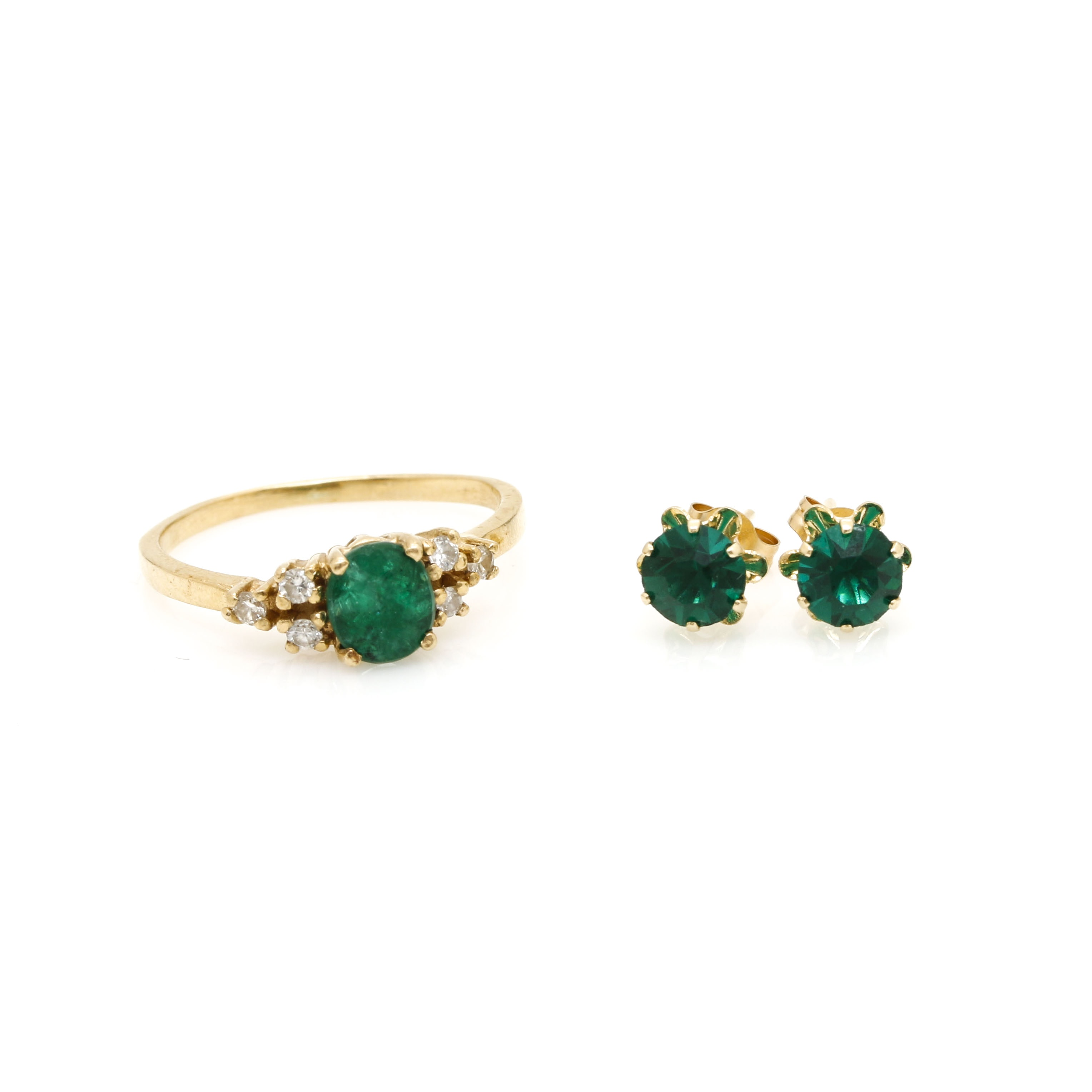 14K Yellow Gold Green Glass, Emerald and Diamond Demi Parure