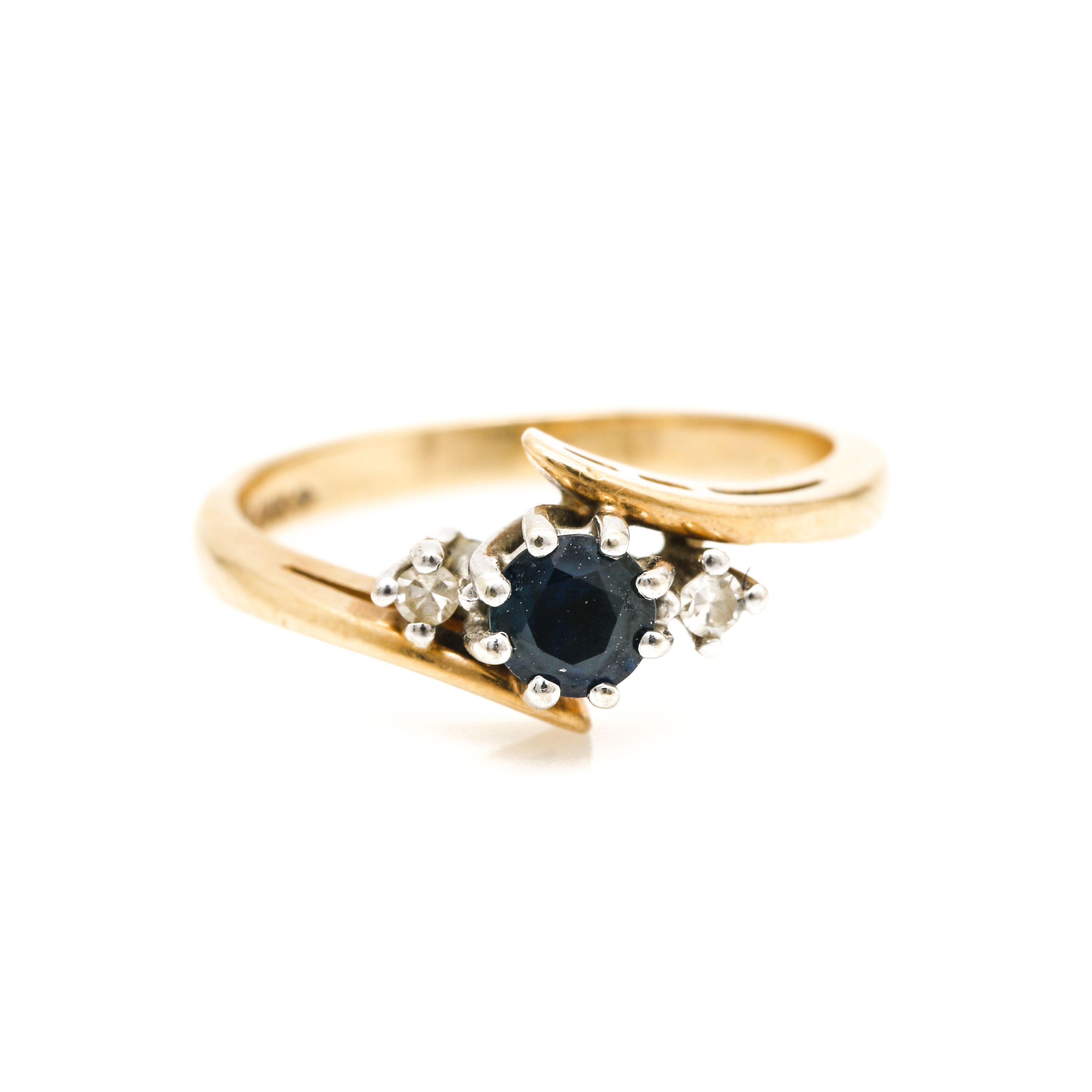 14K Yellow and White Gold Sapphire and Diamond Bypass Ring