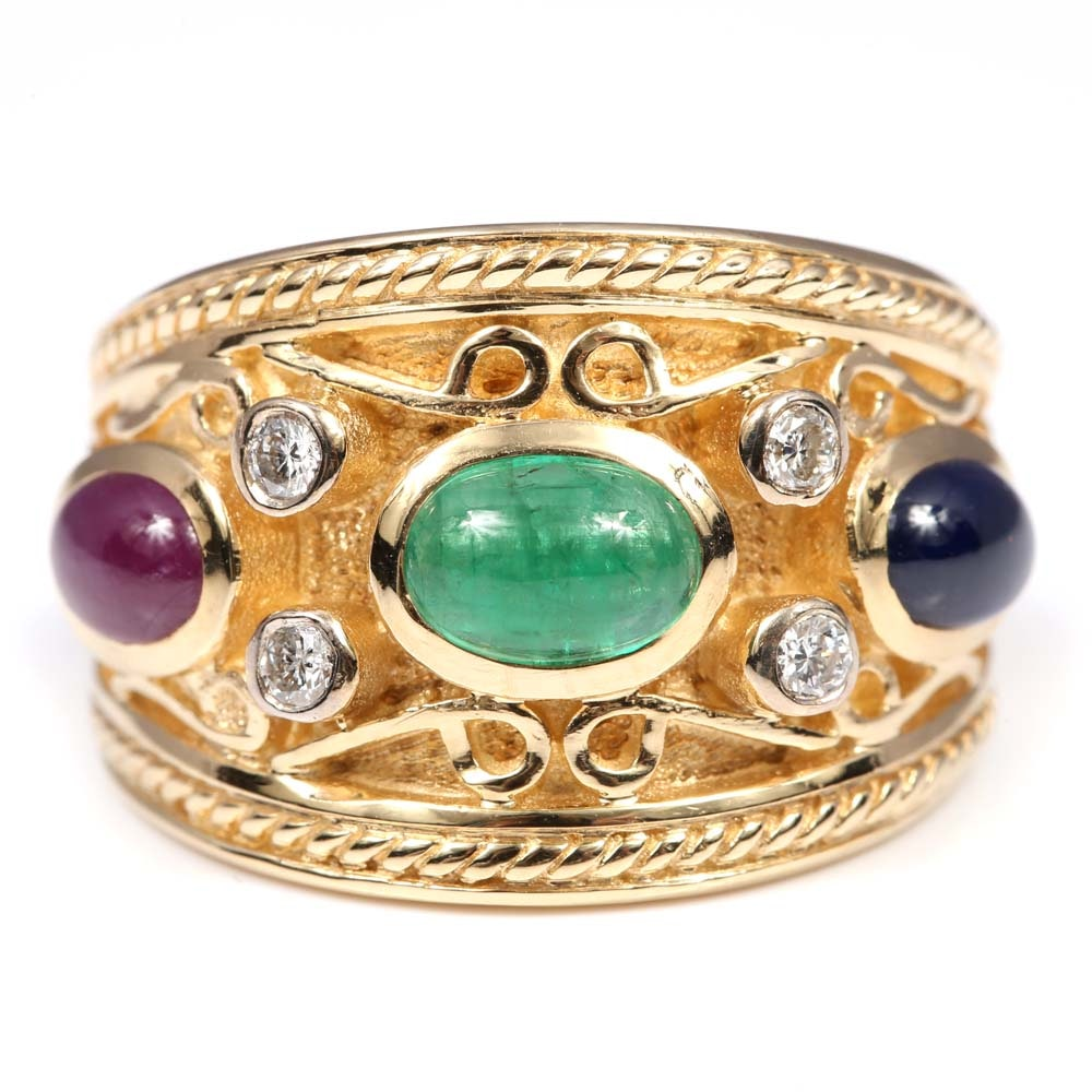 14K Yellow Gold Emerald, Ruby, Sapphire, and Diamond Ring