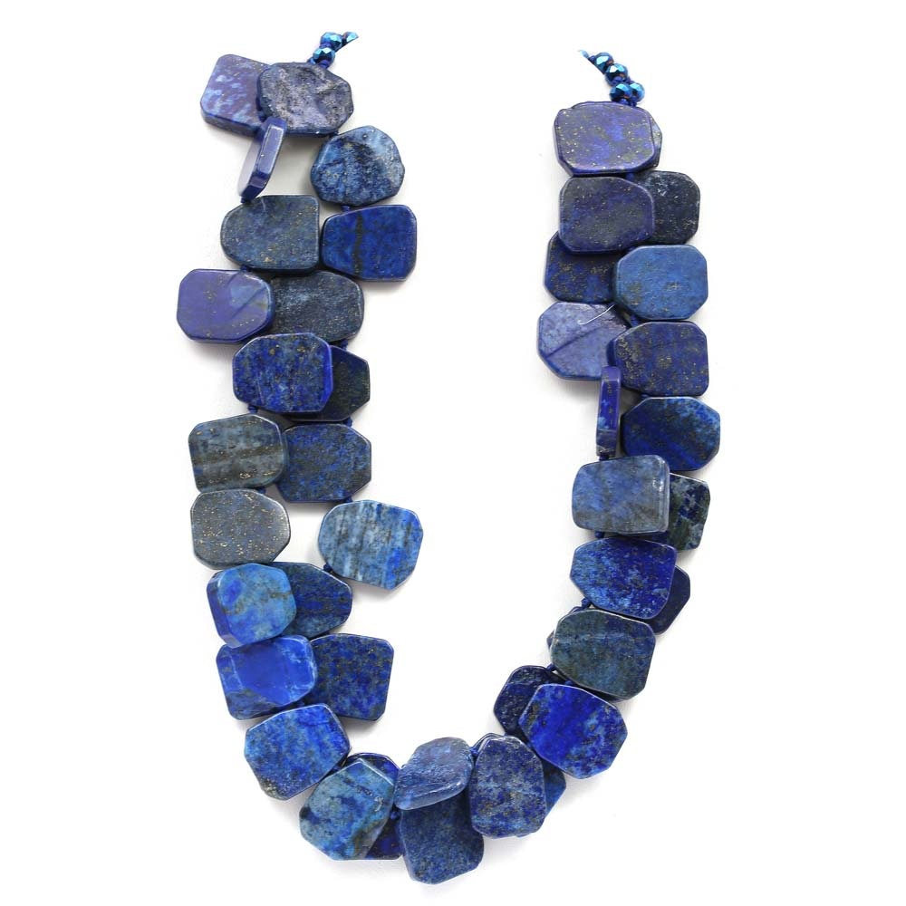 Double Strand Lapis Lazuli Tabular Bead Necklace
