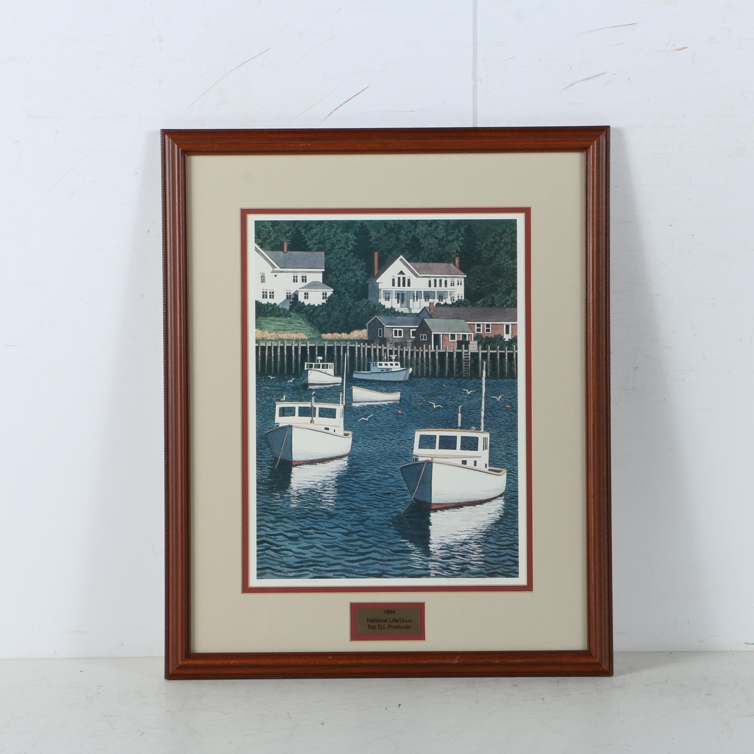 Joseph Cousins Limited Edition Offset Lithograph of a Coastal Scene