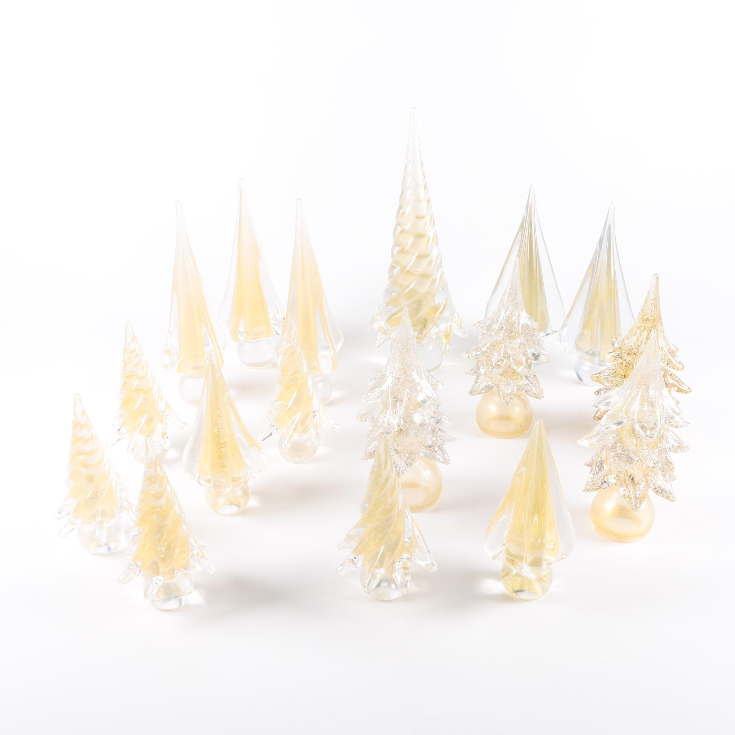 Selection of Glass and Gold Christmas Trees