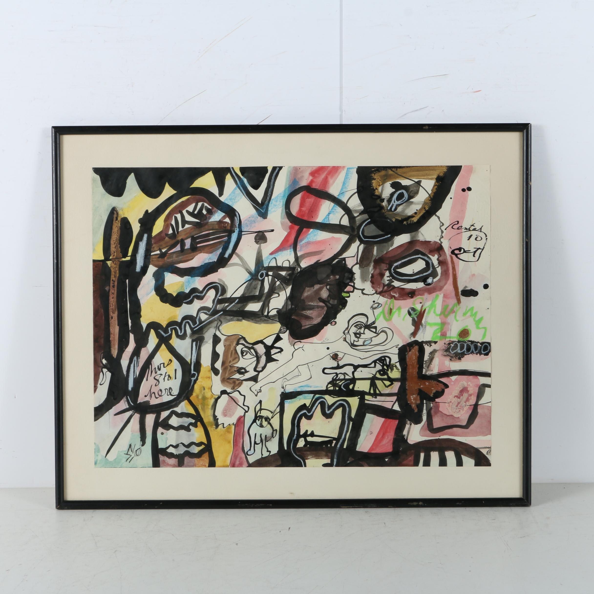 Watercolor Painting on Paper of Abstract Composition