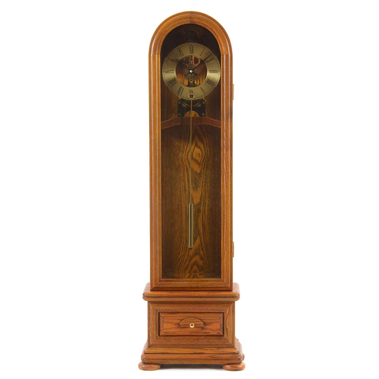 Tall Oak Wood Mantel Clock