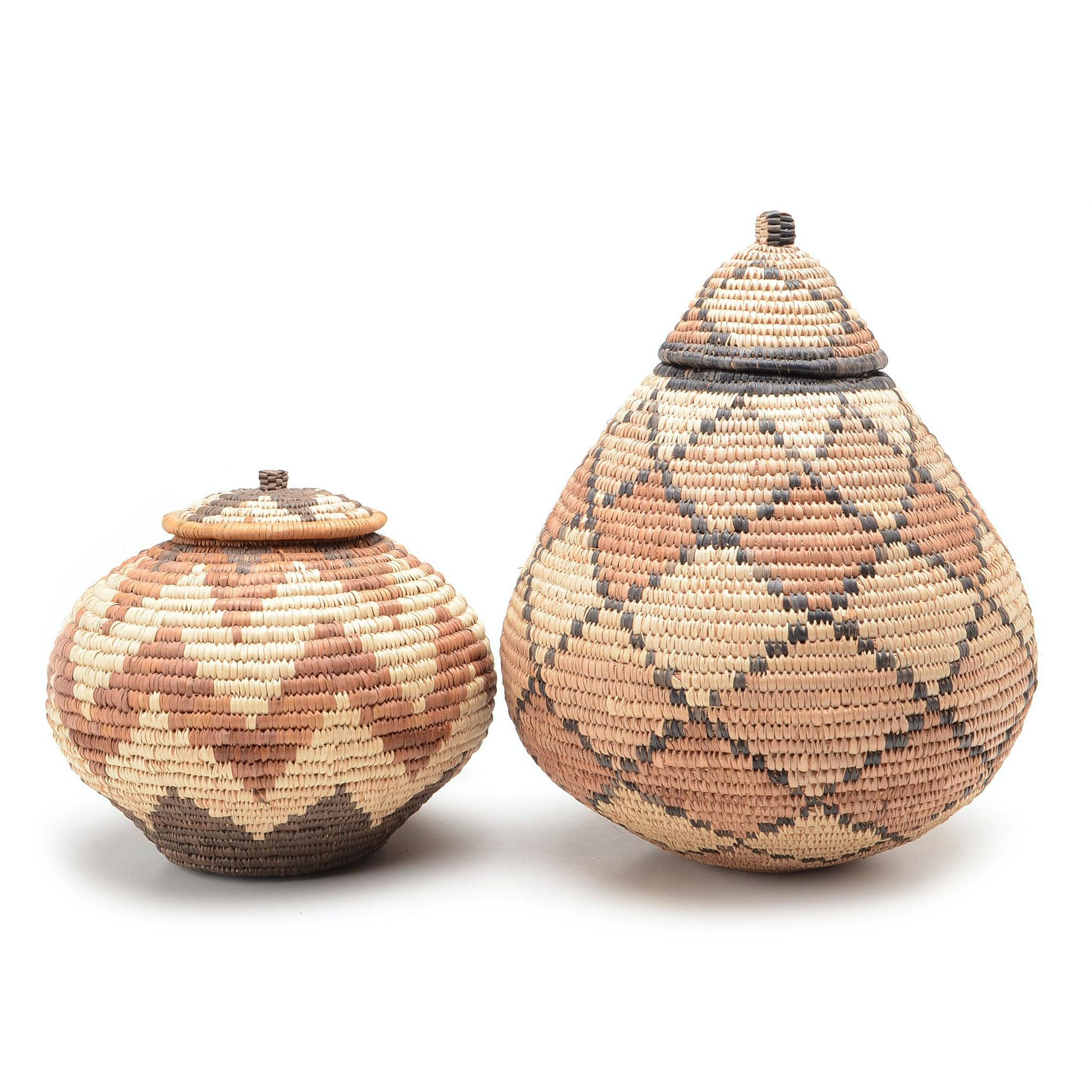Two Handwoven Zulu Ukhamba Baskets