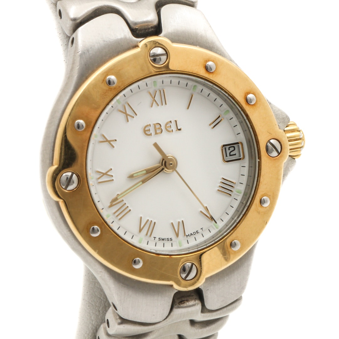 "Ebel ""Sportwave"" 18K Yellow Gold and Stainless Steel Wristwatch"