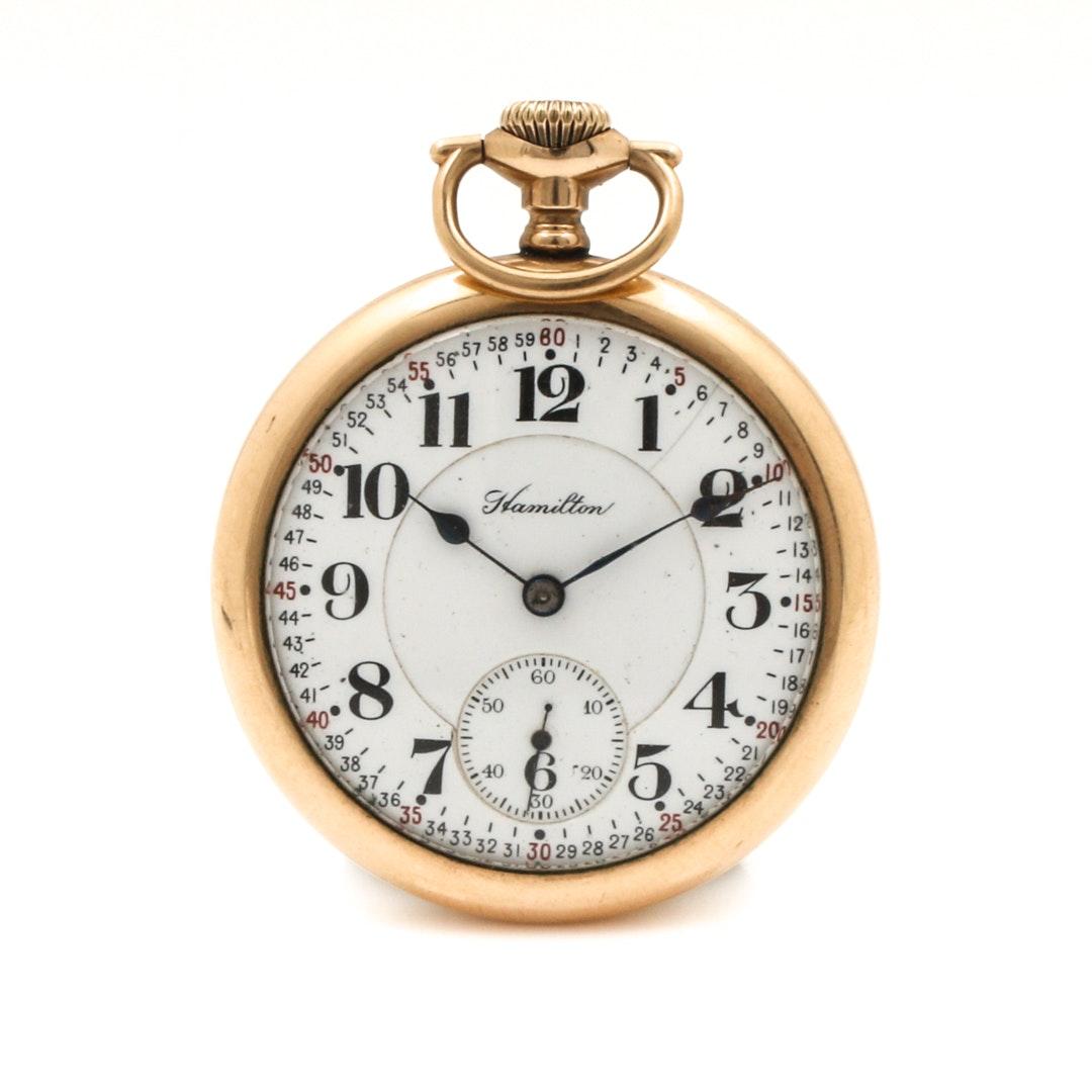 Vintage Hamilton Gold Tone Pocket Watch