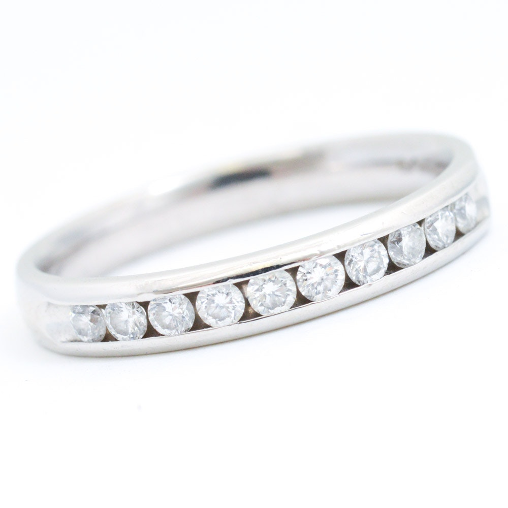 Platinum and Diamond Channel Set Ring