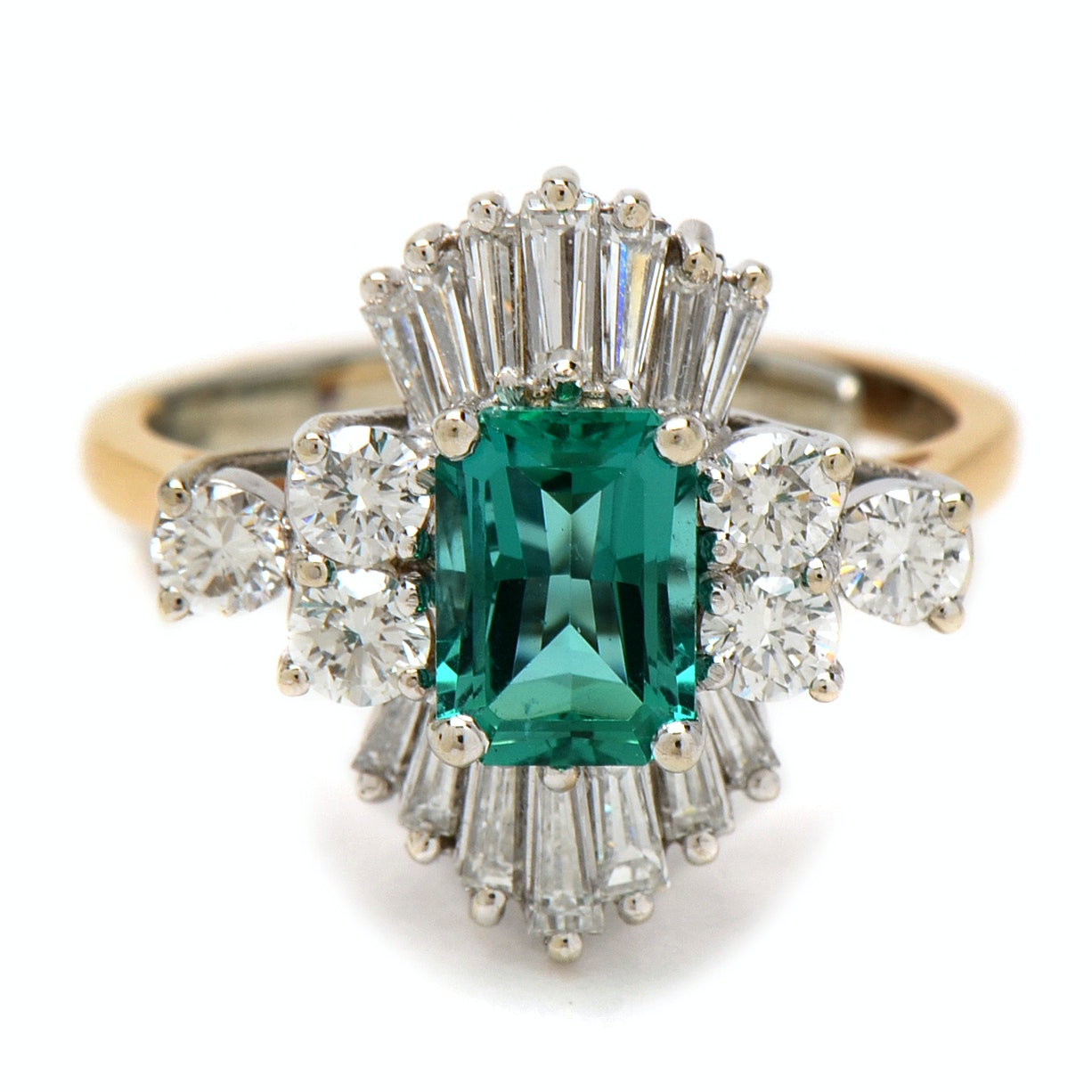 14K Yellow Gold 1.48 Carat Emerald and Diamond Cocktail Ring