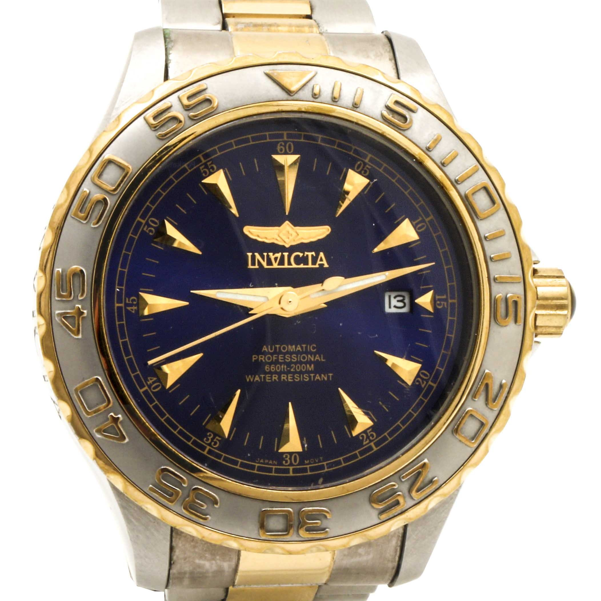 "Invicta ""Pro Diver"" Two Tone Stainless Wristwatch"