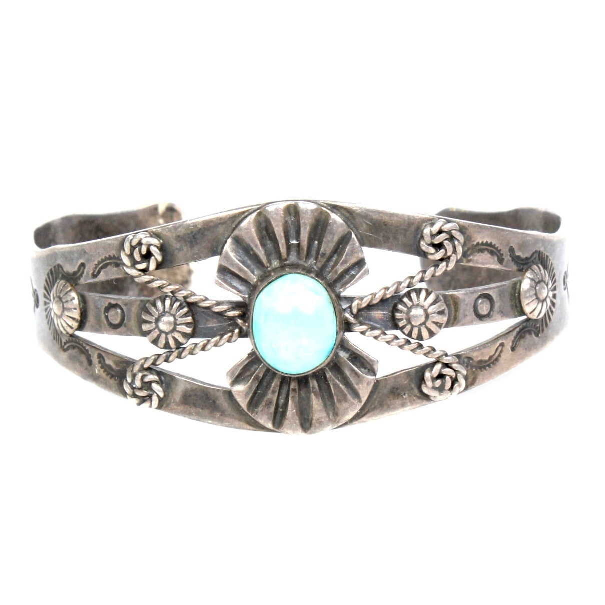 Sterling Silver and Natural Turquoise Cuff