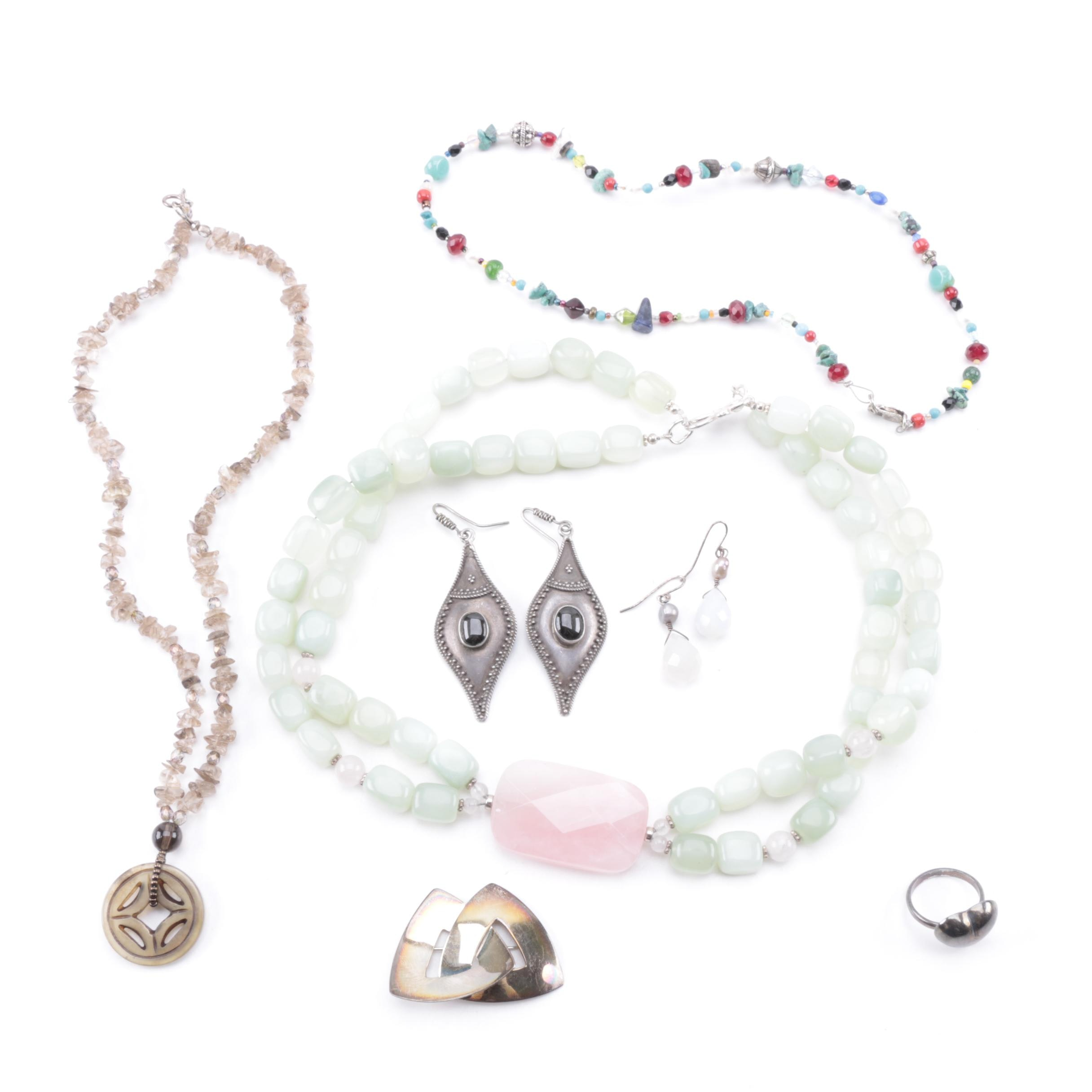 Sterling Silver Jewelry Featuring Rose Quartz, Smoky Quartz and Bowenite