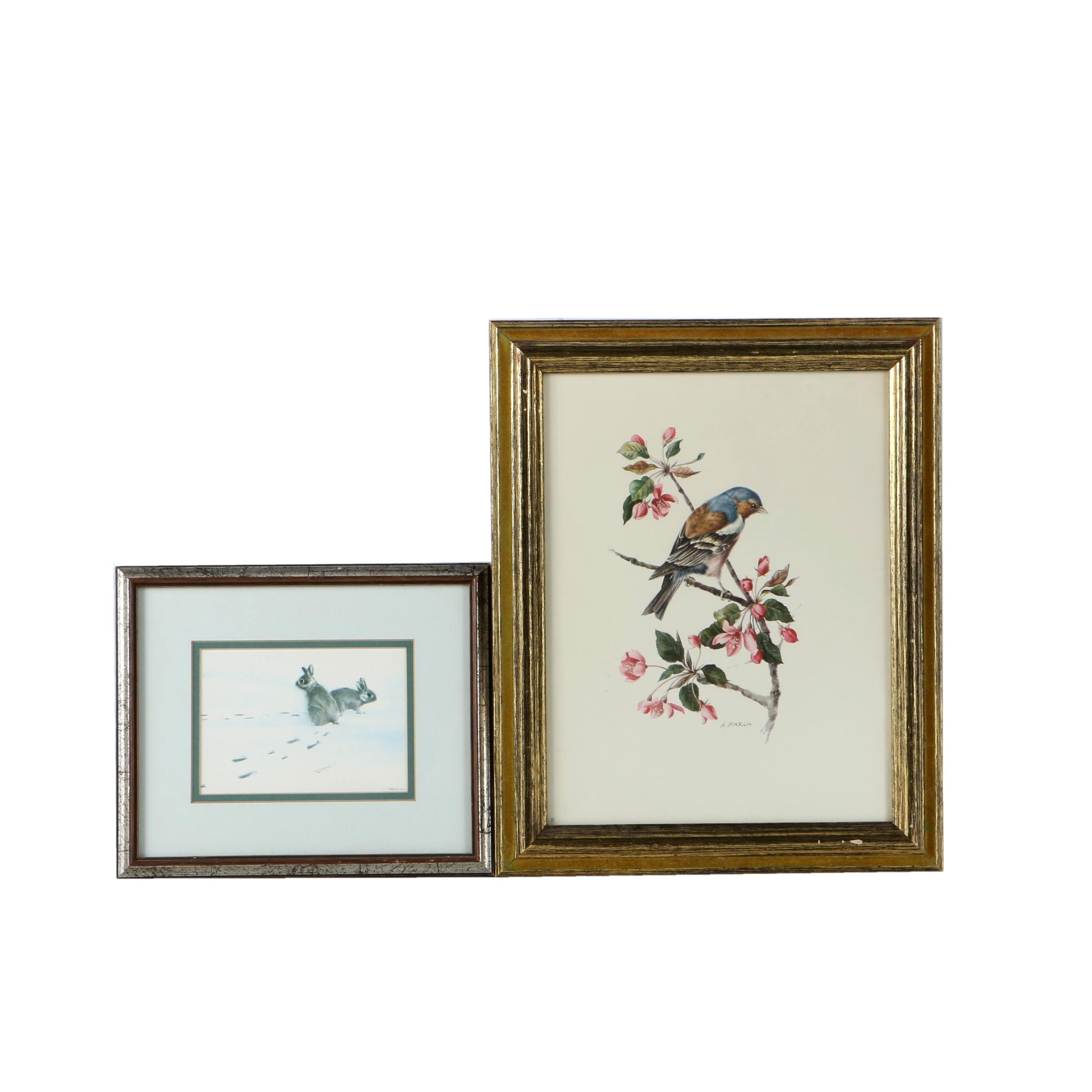 Offset Lithographs on Paper Featuring Wildlife