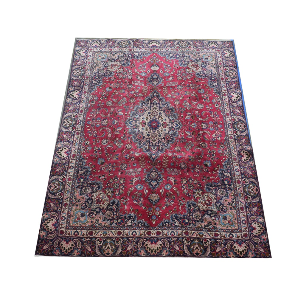 Hand-Knotted Kerman Wool Area Rug