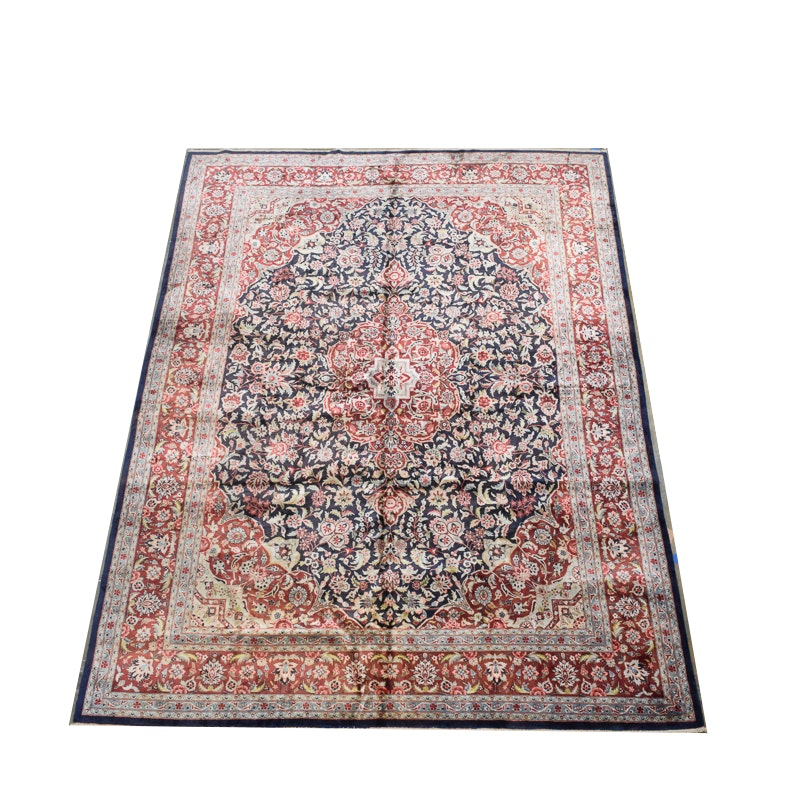 Hand-Knotted Persian Silk and Wool Area Rug