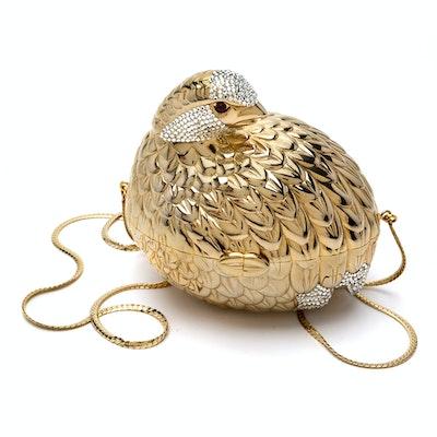 670375e5fb35 Judith Leiber Swarovski Crystal Grouse Partridge Minaudiere Clutch Evening  Bag