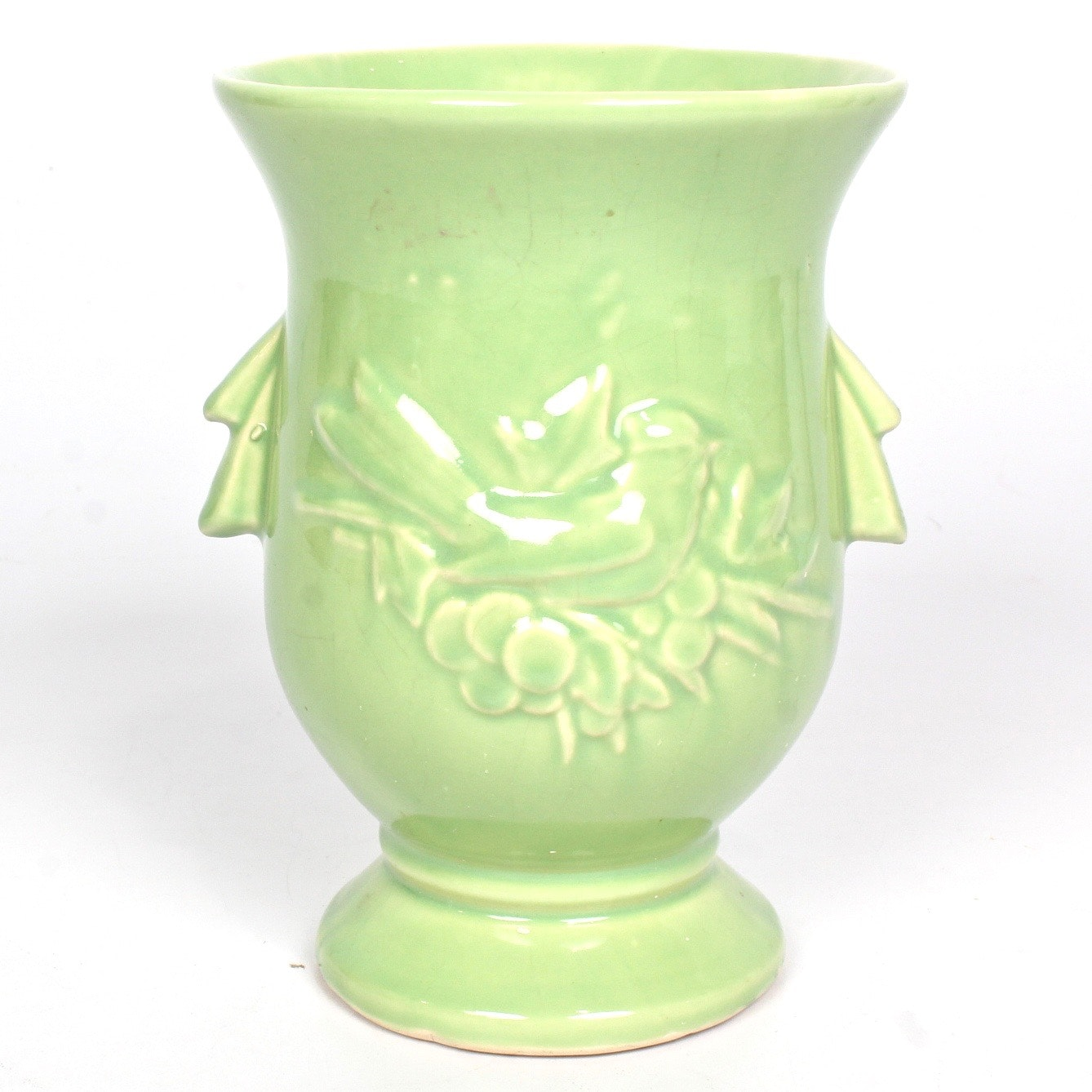 Vintage McCoy Apple Green Cardinal and Cherries Vase
