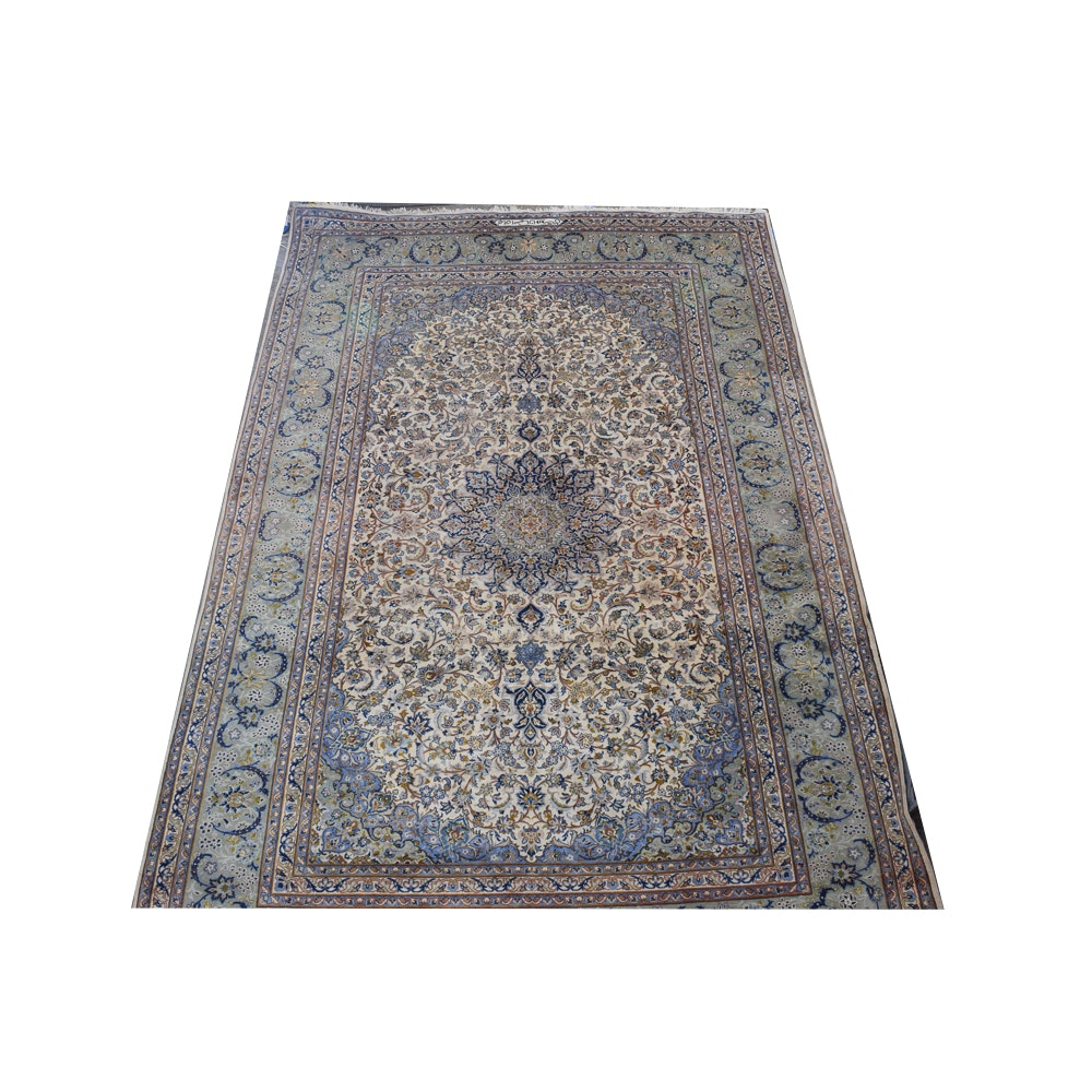 Hand-Knotted Signed Persian Isfahan Wool Area Rug