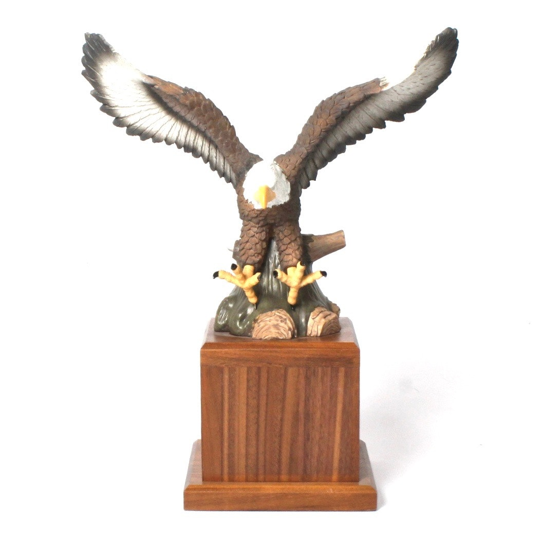 Bald Eagle Sculpture on Walnut Base