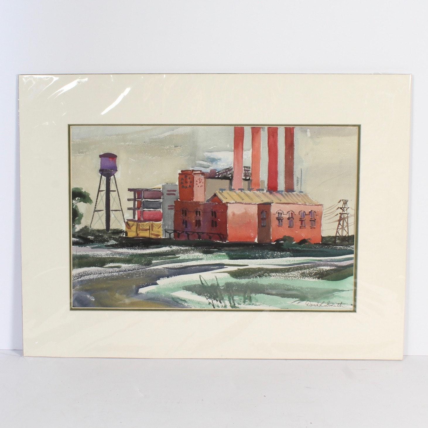 """David L. Smith Watercolor """"Buildings 117"""""""