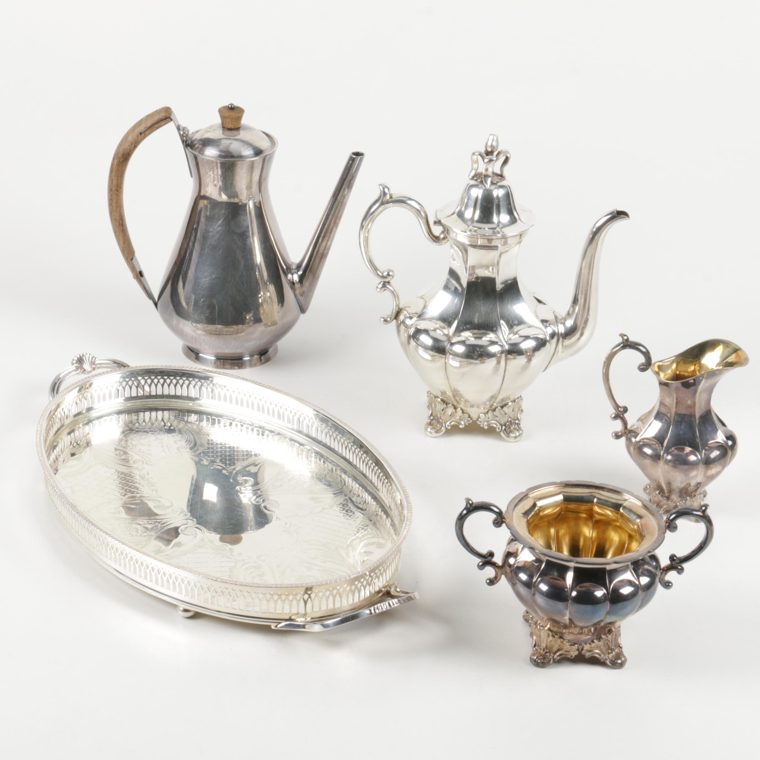 C.G. Hallberg Swedish Silver Plate Coffee Service with Modern Gorham Coffee Pot ... : silver plated coffee set - pezcame.com