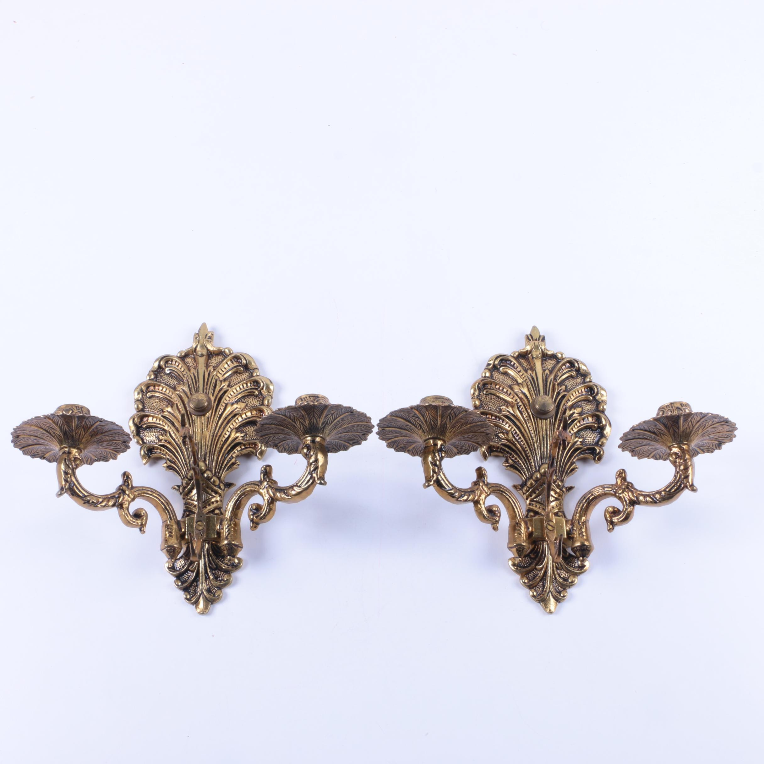 Pair of Brass Patina Candle Sconces