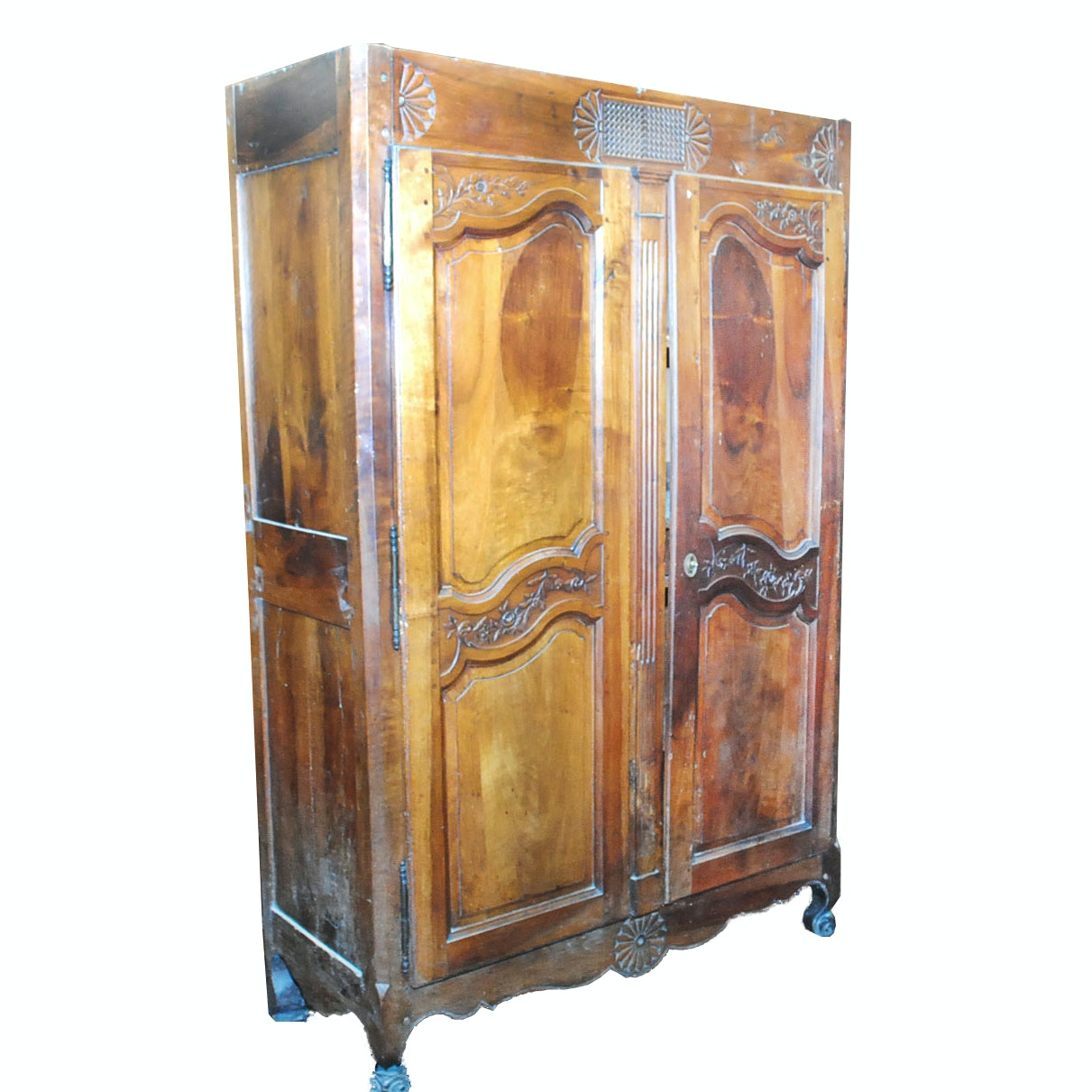 Early French Carved Fruitwood Armoire