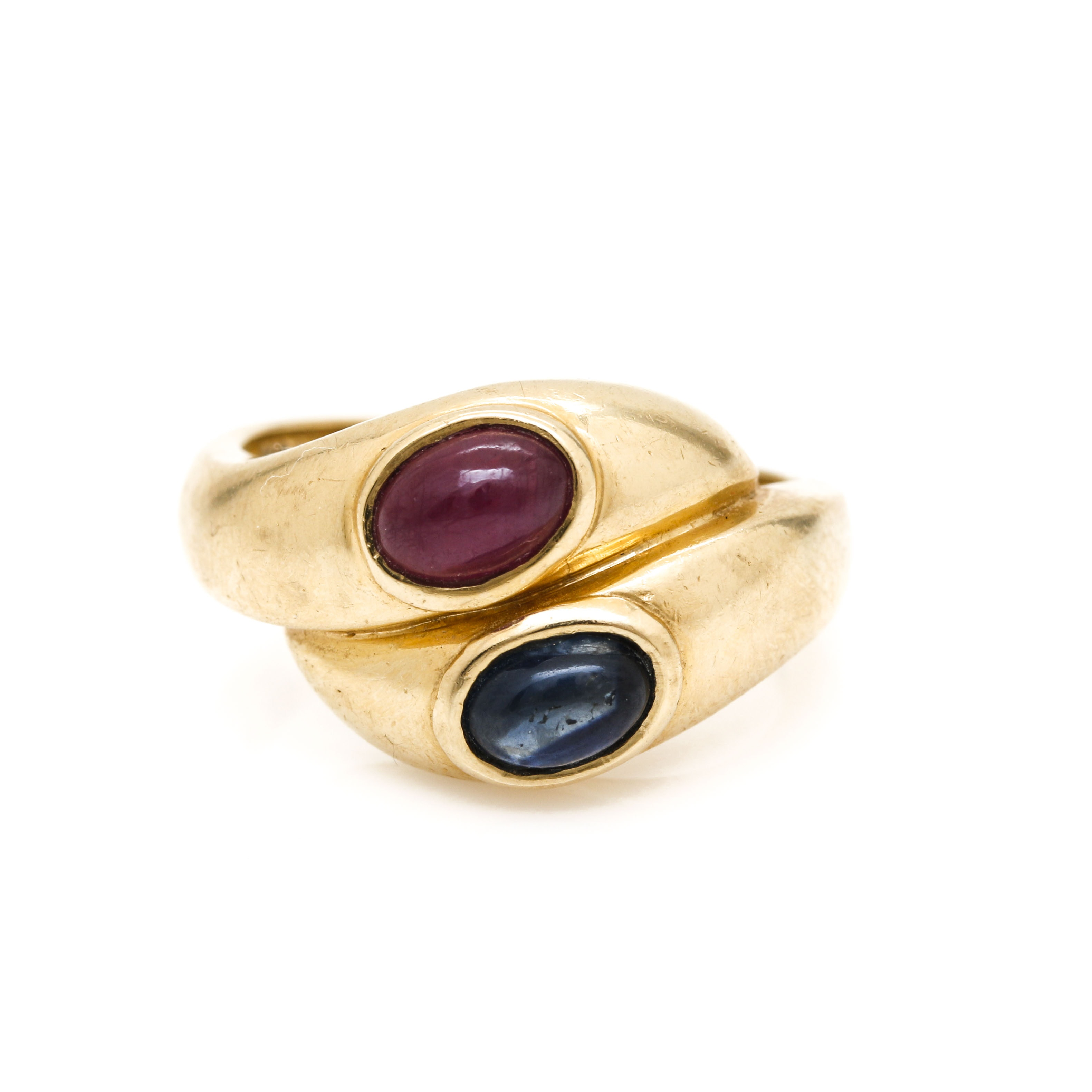 14K Yellow Gold Ruby and Sapphire Bypass Ring