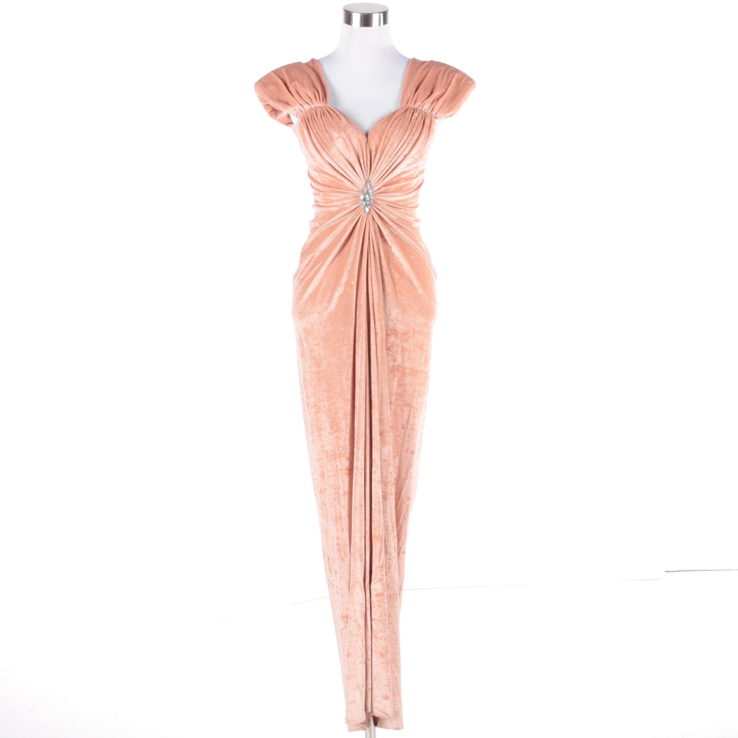 Marc Bouwer Velvet Evening Gown