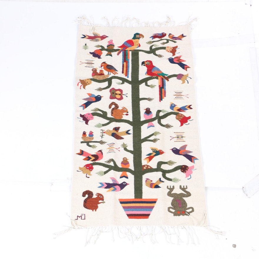 Handwoven Mexican Tree Of Life Wool Accent Rug Ebth