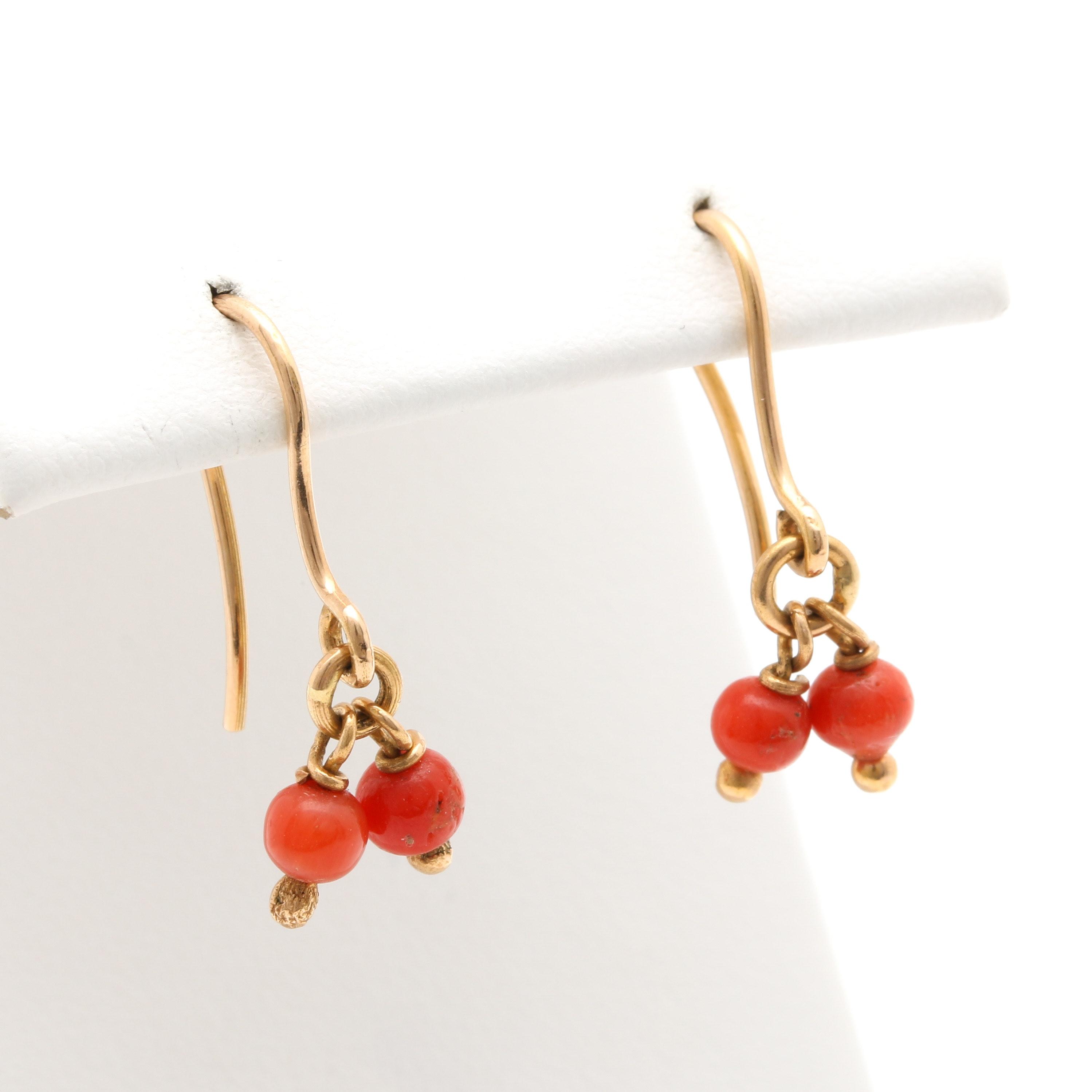 18K Yellow Gold Coral Dangle Earrings