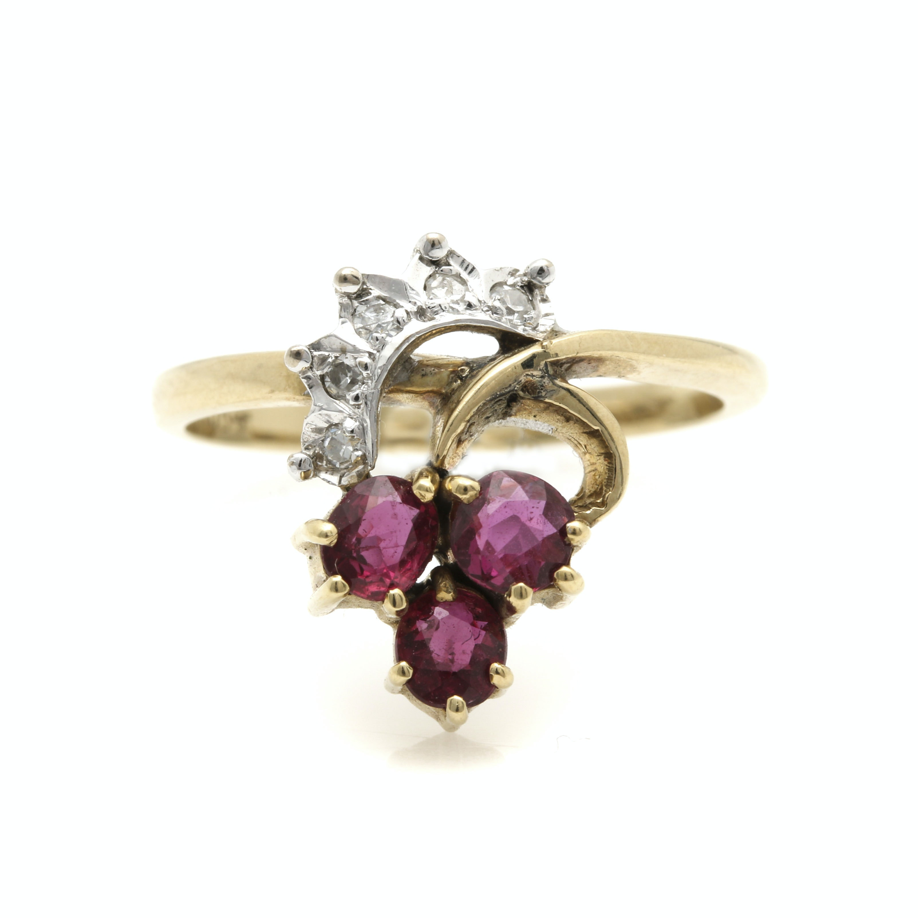 14K White and Yellow Gold Ruby and Diamond Ring