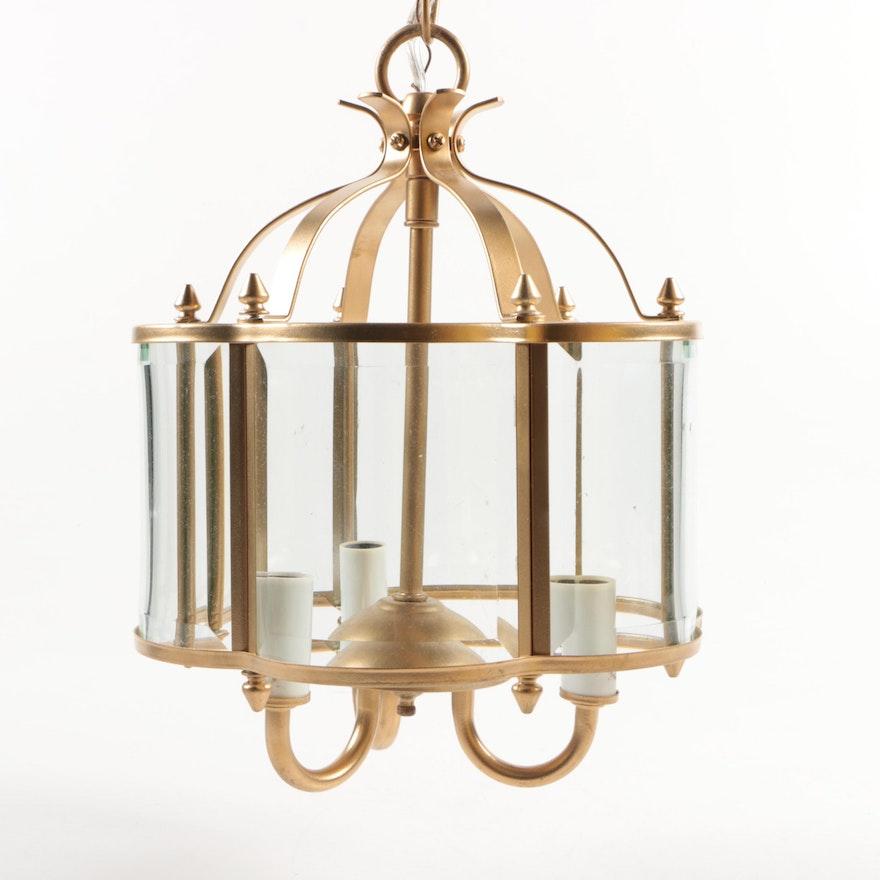 Brass and Glass Scalloped Hanging Lantern Light Fixture : EBTH