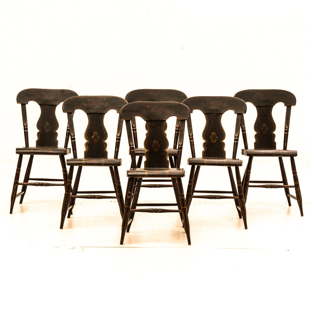 Set of Six Hitchcock Style Side Chairs