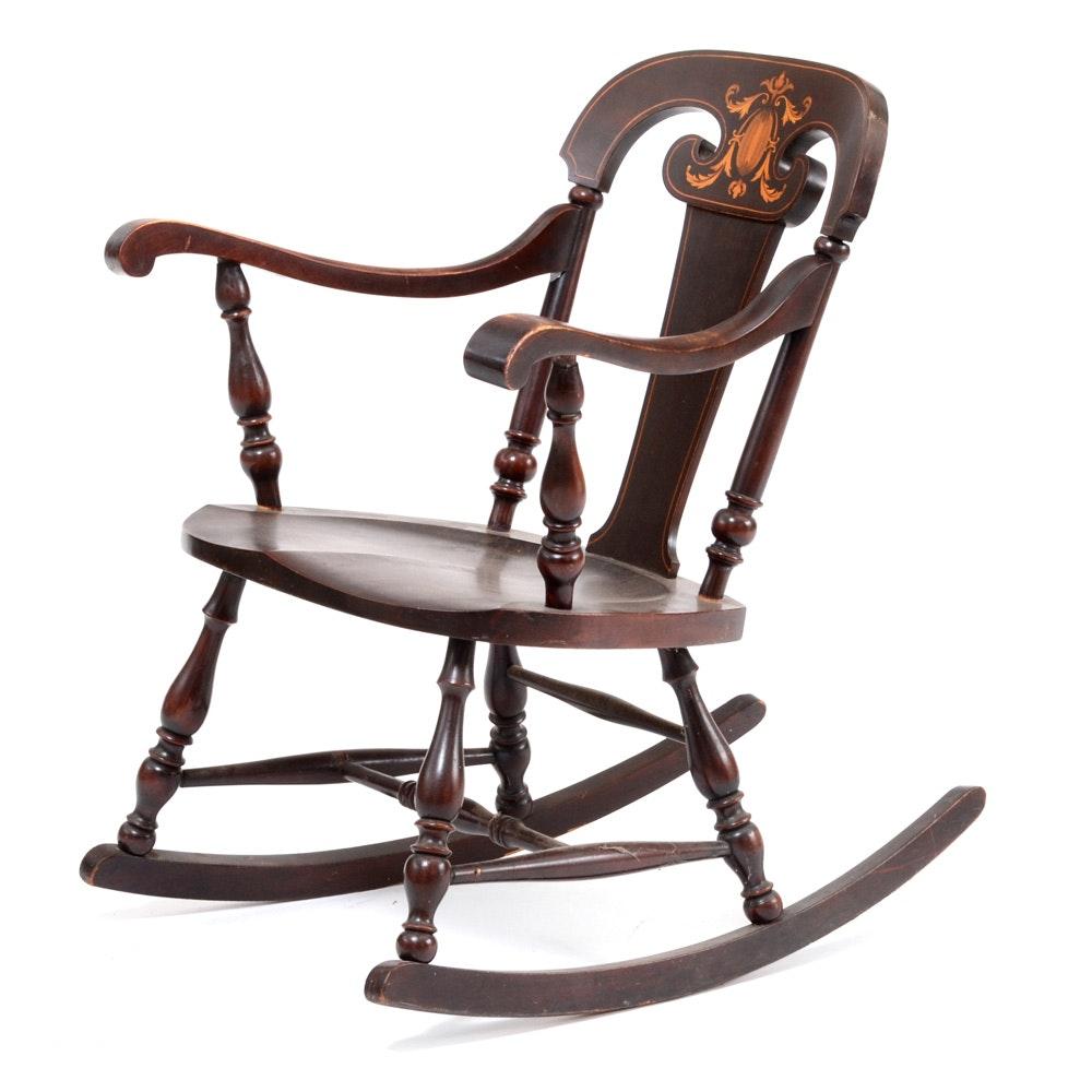 Cherry Finish Inlaid Rocking Chair
