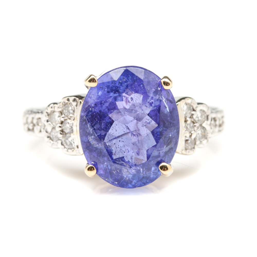 14K White Gold 4.39 CT Tanzanite and Diamond Ring with 14K Yellow Gold Accent