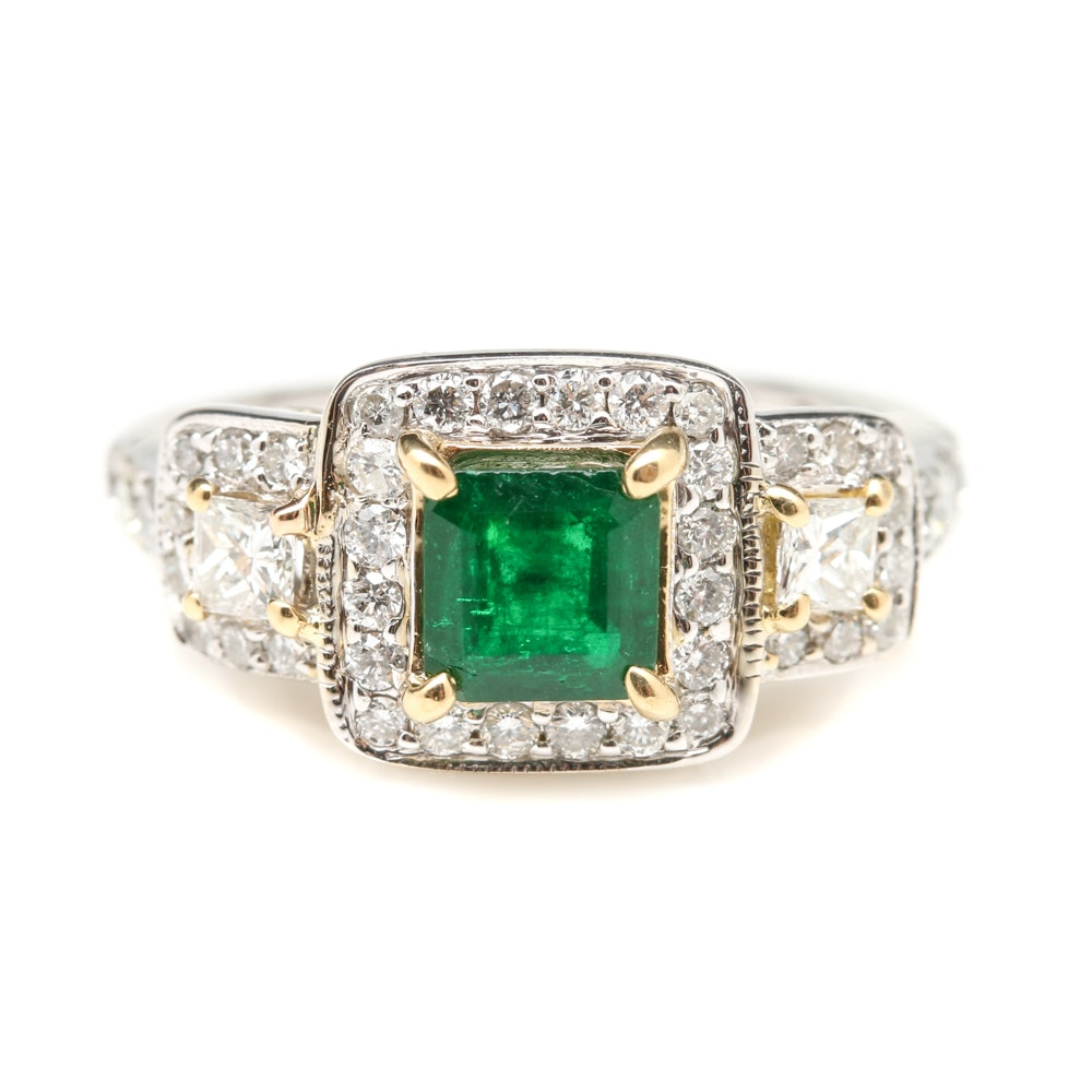 18K White Gold 0.59 CT Emerald and Diamond Ring with 18K Yellow Gold Accents