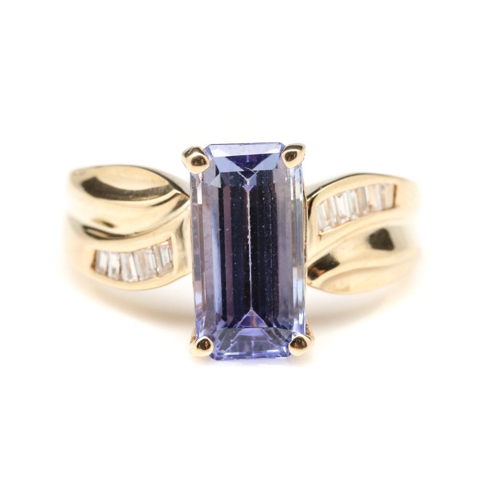 14K Yellow Gold 3.18 CT Tanzanite and Diamond Ring