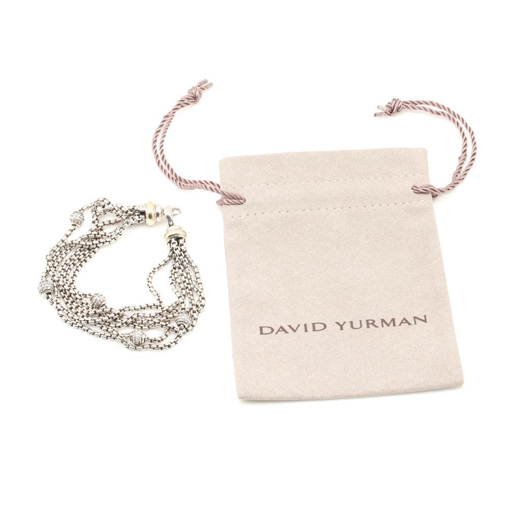 David Yurman Sterling Silver 1.65 CTW Diamond Station Bracelet with 14K Accents