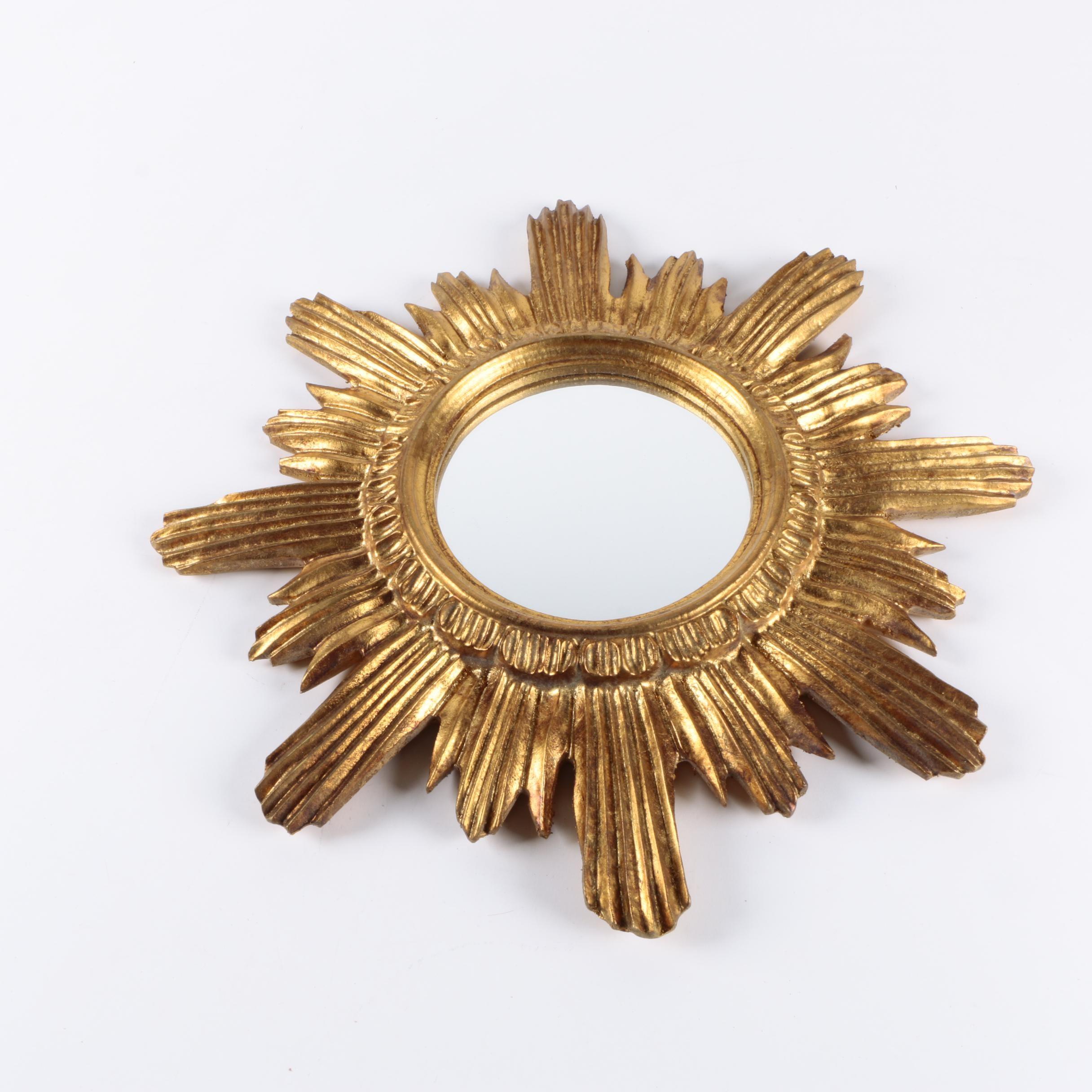 Handmade Italian Wall Mirror with Gold Tone Sunburst Frame